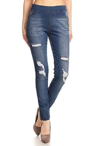 Women's Stretch Pull-On Skinny Ripped Distressed Denim Jeggings Regular-Plus Size (Large, Blue-66)