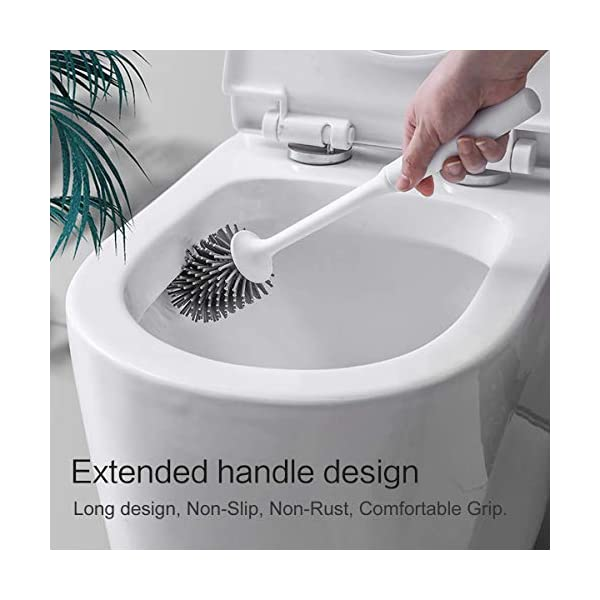 414cFLNSZML Braoses WC Bürste Wandmontage & Stehen Silikon Toilettenbürste mit Halter Set Langer Stiel klobürste und schnell…