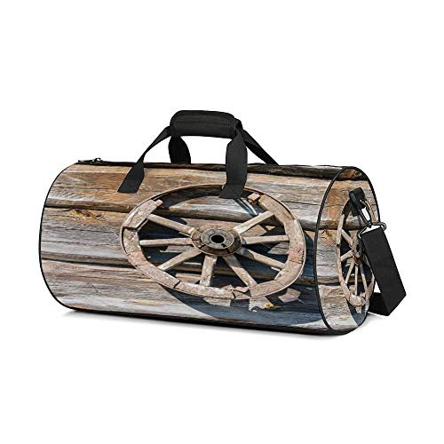 Barn Wood Wagon Wheel Fashion Women's Round Travel Duffle Bag,Old Log Wall with Cartwheel Telega Rural Countryside Themed Image Decorative For traveling,One_Size (Cartwheels Classic Wagon)