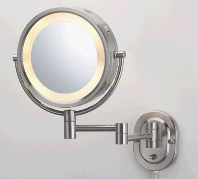 "8"" Brushed Nickel Finish Dual Sided Surround Light Wall Mount Makeup Mirror 414cFzQV0KL"
