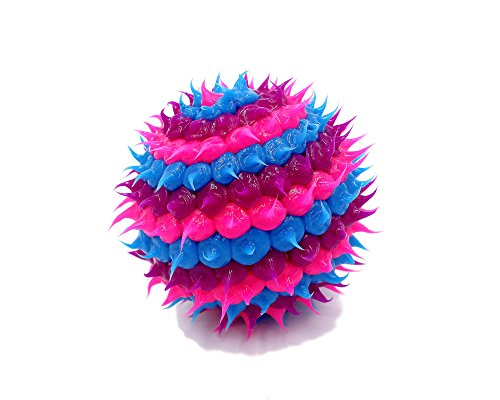 Colorful Silicone Spiny Cactus Rubber Bounce Stress Fidget Ball Toy (HANDMADE) (Color Options) (Purple-Blue-Pink)