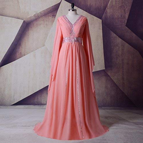 Arabic V Neck Chiffon Pageant Evening Banquet Dresses with Long Sleeves