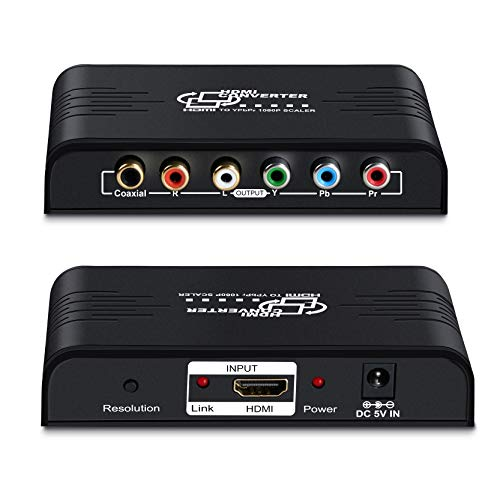 - HDMI to 1080P Component Video (YPbPr) Scaler Converter,avedio links HDMI to Component Support Coaxial Audio Output and R/L Audio-Black