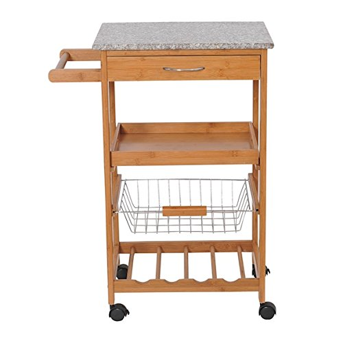 Bamboo Rolling Kitchen Trolley Cart Storage Kitchen Island Serving Utility Dining Portable Trolley Storage Shelf Wine Rack Chrome Plated Steel Basket Smooth Rolling Wheels