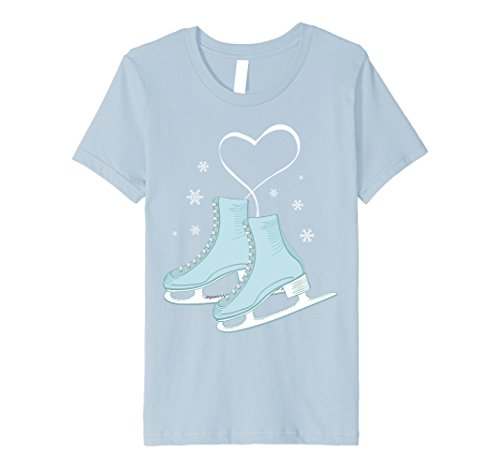 Kids Figure Ice Skating Heart Tshirt - Figure Skater Love Gift 8 Baby Blue (Ice Skater T-shirt)