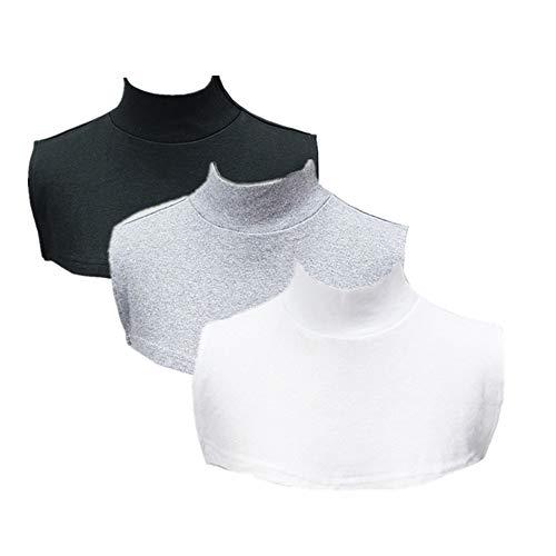 REDODECO 3pcs Womens Half Top Collar Neck Dickey False Fake Turtleneck (Black White Gray)
