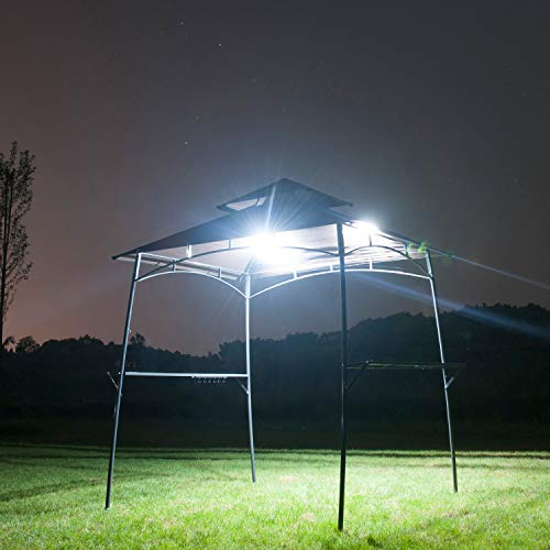 Feelway BBQ Canopy Outdoor Barbecue Grill Metal Gazebo W Lights 2-Tier