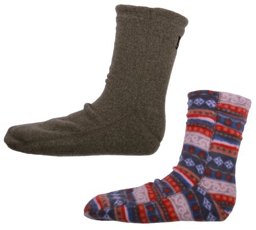 Acorn Casual Versa 2-Way Fleece Slipper Socks 2-Pack (L (Men 8.5-10.5) (Women 9.5-11), Carousel National/Moss Heather)