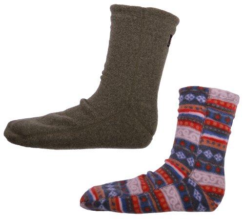 Acorn Casual Versa 2-Way Fleece Slipper Socks 2-Pack (L (Men 8.5-10.5) (Women 9.5-11), Carousel National/Moss Heather)