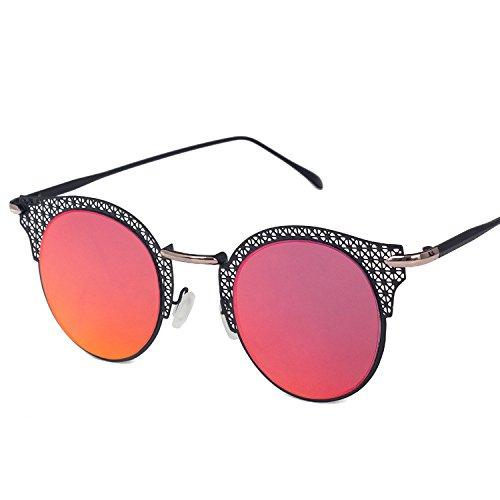 mano Gafas Moda film red Gafas sol box a C3 mujer MAIDIS de sol callejeros Black Disparos de talladas xwUHqfCq