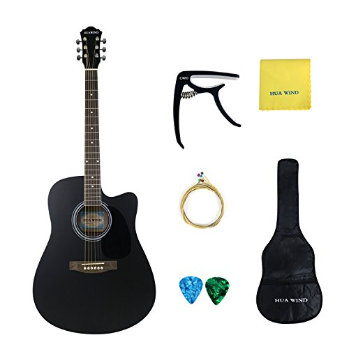 Acoustic Guitar 41 inch Basswood Cutaway Steel Strings Acoustic Guitar Starer Kit with Gig Bag, Capo, Strings, Picks and Polishing Cloth (Full Size Cutaway)