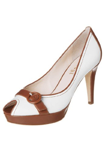 HÖGL Women's 5-10 7941 White and Tan Peep Toe Leather Shoes HO 48 65iCEP1lx