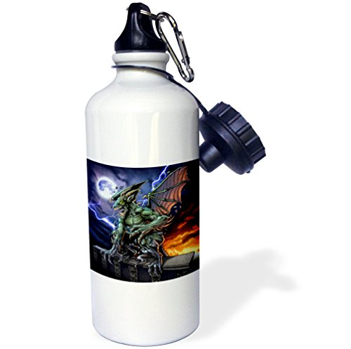 3dRose dark, Gargoyle, Illustration - Gargoyle sitting on a pedestal lighting and the moon - 21 oz Sports Water Bottle (Gargoyle Lighting)