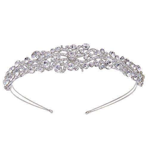 EVER FAITH Silver-Tone Austrian Crystal Art Deco Wave Cluster Bridal Hair Band Headpiece -