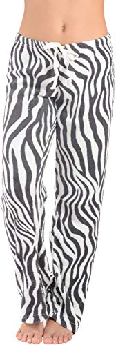 Active Club Women's Warm Printed Cozy Plush Lounge Pajama Pants (Large, Zebra)