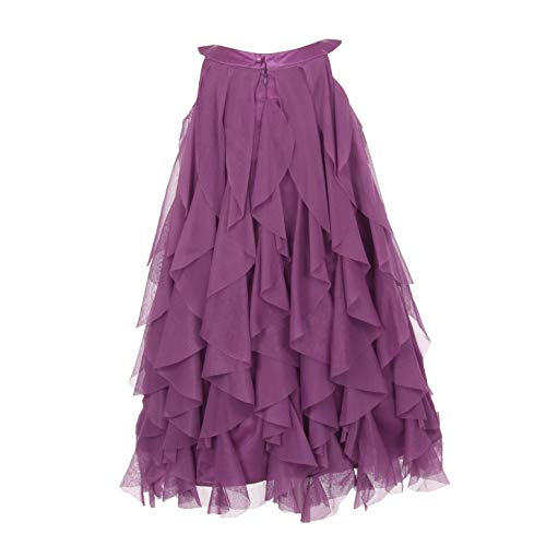- Kids Dream Little Girls Eggplant A-line Swirl Mesh Ruffle Flower Girl Dress 4