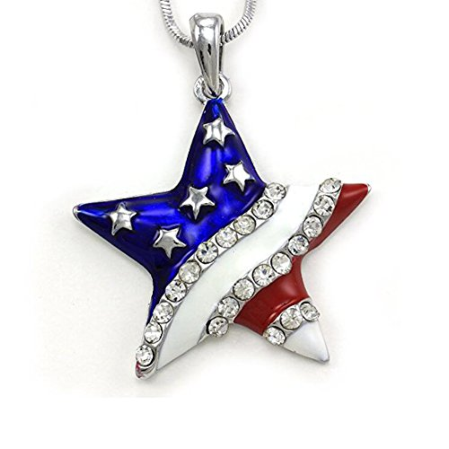 Patriotic Red White Blue American USA US Flag Star Necklace Pendant Clear Rhinestones 4th of July Jewelry