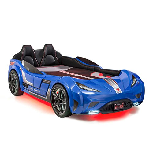 ed, Twin, Ages 2 to 12, w/ Remote Control, LED Headlights, Engine Sound, Upholstered Headboard, Interior Padding, Window Railings, Vanity License Plate, Blue ()