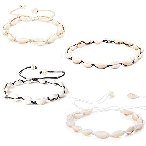 LOYALLOOK 4 pcs Adjustable Beach Shell Anklet Bracelets Choker Necklace Set for Women Girls Cowrie Shell Beads Boho Jewelry