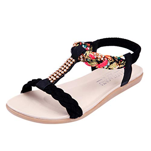 chengzhijianzhu Womens Sandals Summer Beach Flip-Flops Elastic Flat Beach Slippers Outdoor Bohemian Shoes Plus Size(5-9) Black -