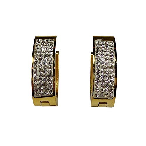 Two Tone Pave Ring Enamel (Stainless Steel Huggie Earrings Crystals Enamels (Oval Pave Crystals))