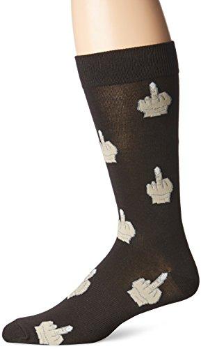 K. Bell Socks Men's Middle Finger Sock, Black, 10-13/6-12