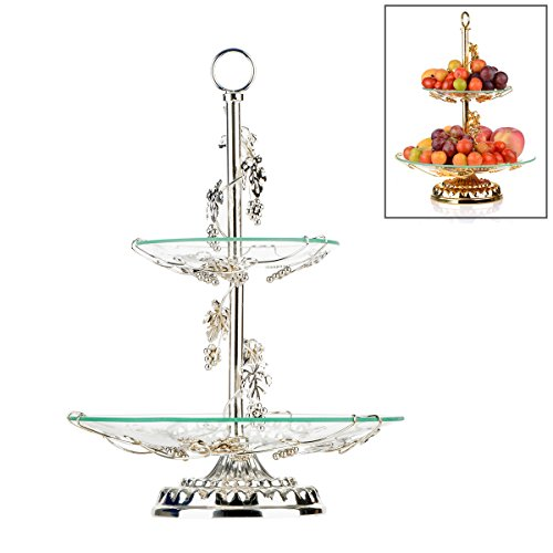 Fruit Bowl and Cake Stand,OKOMATCH 2 Tier Serving Platter With Round Glass Plate & Golden Stainless Steel Holder for Birthday/Party/Wedding/Home(Silver) -