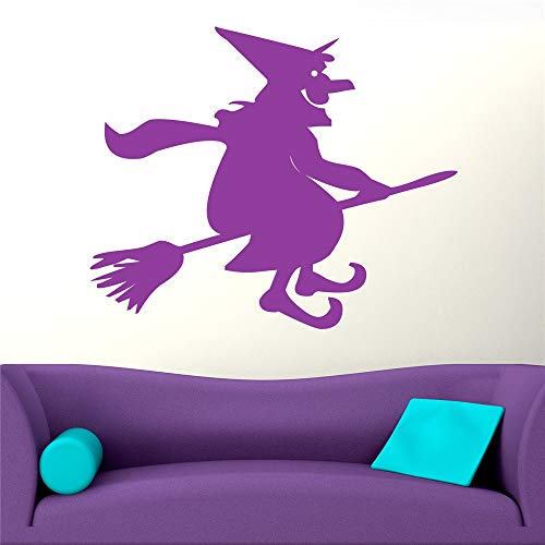 Yunhaa Vinyl Decal Quote Art Wall Sticker Mirror Decal Cartoon Smiling Witch On A Broomstick for Halloween Day ()