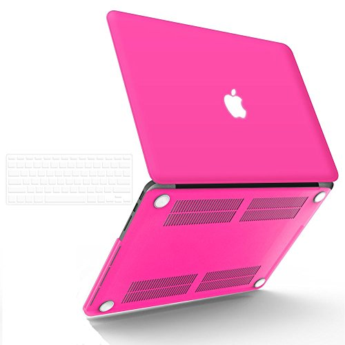 "iBenzer Basic Soft-Touch Series Plastic Hard Case & Keyboard Cover for Apple MacBook Pro 13-inch 13"" with Retina Display A1425/1502 (Previous Generation) (Hot Pink)"