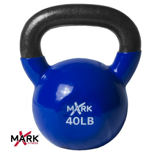 XMark Premium Quality Solid Cast Iron Vinyl Coated Kettlebell - 40 lb. Single