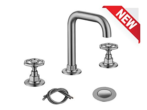 RKF Solid Brass Two Handle Widespread Bathroom Sink Faucet with Pop-up Drain with overflow and CUPC Faucet Supply Hoses,Brushed Nickel,CWF026B-BN