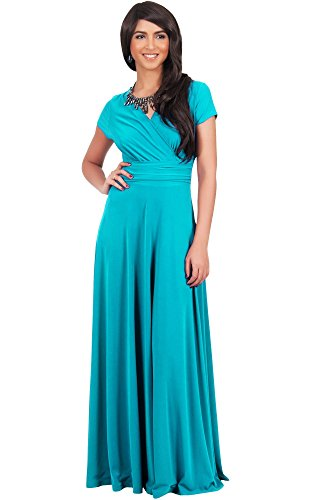Koh Koh Plus Size Women Long Cap Short Sleeve V-Neck Flowy Cocktail Slimming Summer Sexy Casual Formal Sun Sundress Work Cute Gown Gowns Maxi Dress Dresses, Turquoise XL 14-16 (3)
