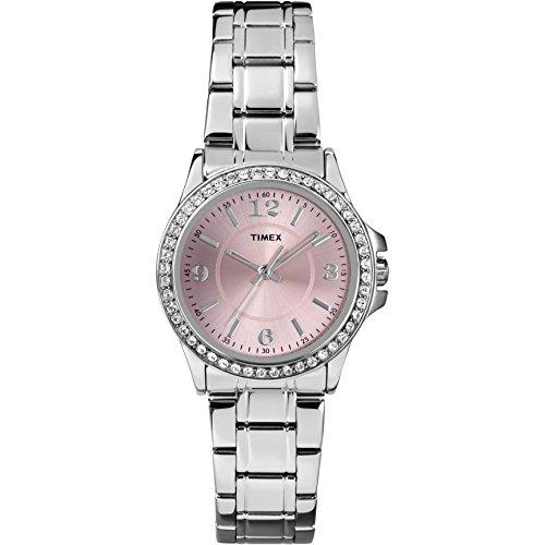 Timex Women's Swarovski Crystal Dress Fashion Quartz Watch Silver Band Pink Face