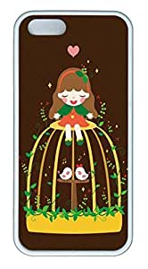 Cartoon Girl With Lovely Birds Soft Rubber White Case Cover iPhone 5S 5