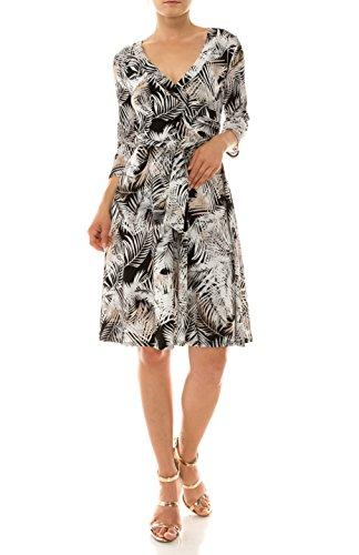 BodiLove Printed Faux Fabric 3 Black Dress Polyester Wrap V Neck Silky Women's Sleeve Stretchy 4 Length Knee rvSnrBq1