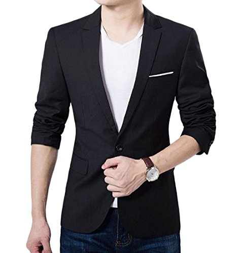 Nice Comfy Mens 1 Button Turn Down Collar Solid-Colored Blazer Suit Jackets