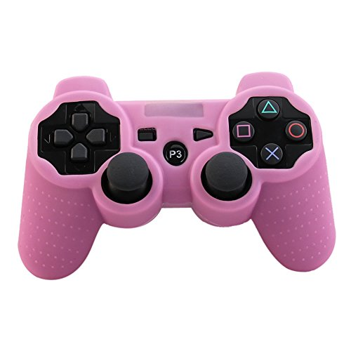 Alouflower Silicone Rubber Skin Grip Protective Cover Case for Playstation 3 PS3 Controller (Pink)