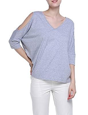 Haola Women's Off Shoulder Tees Shirts V Neck Loose T-Shirts Tops