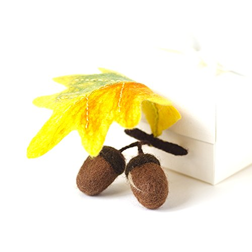 Autumn Pin Acorn Brooch Woodland Jewelry Autumn Forest Jewelry Yellow Branch Brooch Original Jewellery Unique Gifts for women Gift ideas for Mother
