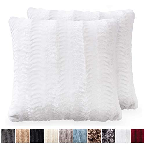 - The Connecticut Home Company Original Faux Fur Pillowcases, Set of 2 Decorative Case Sets, Throw Pillow Covers, Luxury Soft Cases for Bedroom, Living Room, Sofa, Couch, and Bed (18x18 inch, White)