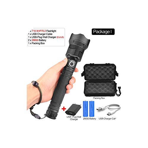55000 Lumens Most Powerful Flashlight Usb Charging Zoom 18650 Or 26650 Battery For Camping,I