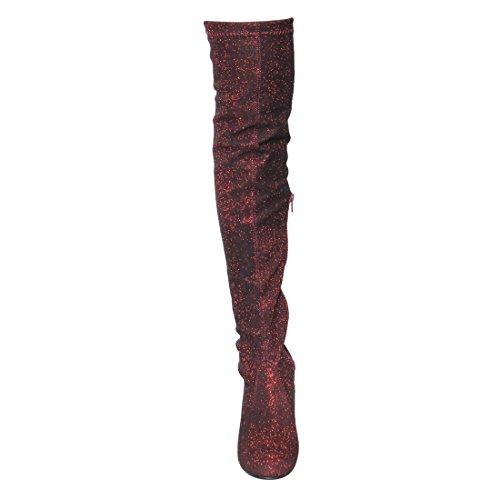 BESTON FD19 Frauen Overknee Kordelzug Ferse Stiefel voller Größe klein Burgunder Glitter