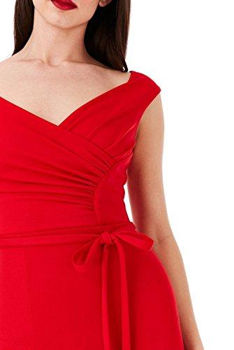 Lungo Bei Formali Rosso Ssyiz Vestiti Partito Abito TRx1O