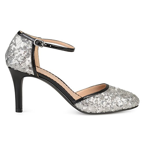 Faux Janes Womens Co Leather Brinley Mary Silver Sequin Piping t6BwCCq