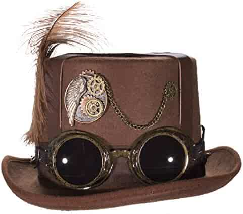 Deluxe Steampunk Top Hat Gears Straps Goggles Feathers Brown Black Costume  Cap 7f193696880d