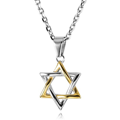 INBLUE Men,Women's Stainless Steel Pendant Necklace Tone Lucky Jewish Star Of David -With 23 Inch (Designer Star Of David Necklace)