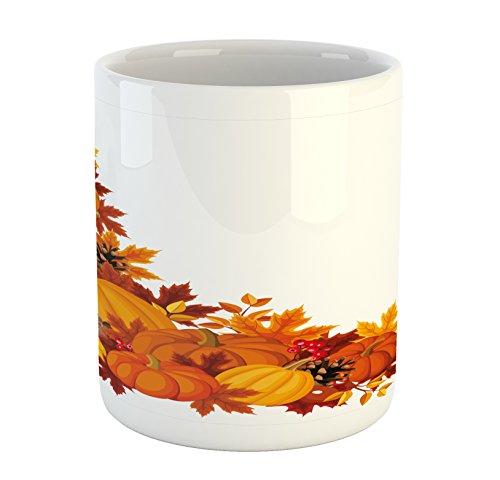 Lunarable Pumpkin Mug, Autumn Leaves and Fruits on Fall Season Arrangement Pine Cone Cranberries, Ceramic Coffee Mug Cup for Water Tea Drinks, 11 oz, Orange Yellow