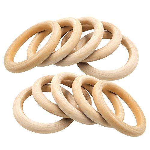 Wood Rings,25 Pack Natural Wood Rings for Crafting DIY Jewelry Making Craft Projects,70mm Wooden Teething Round Rings Beads Jewelry Findings Ring Pendant Connectors (70mm) (70mm)