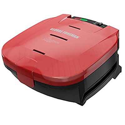 George Foreman 5-Minute Burger Grill, Electric Indoor Grill, Red, GR1036BTR