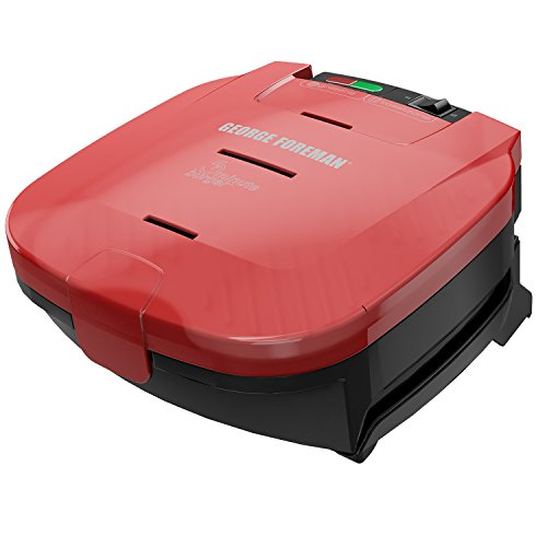 George Foreman 5-Minute Burger Grill, Electric Indoor Grill, Red, (Duty Bun)